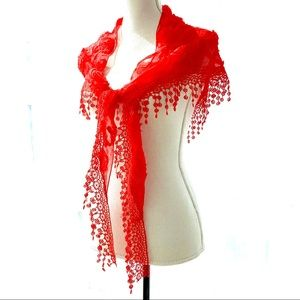 bright red Spanish sheer floral scarf wrap